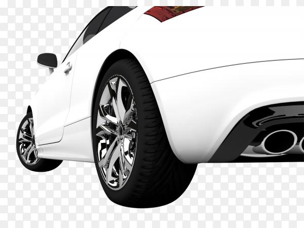 Modern white car on transparent background PNG