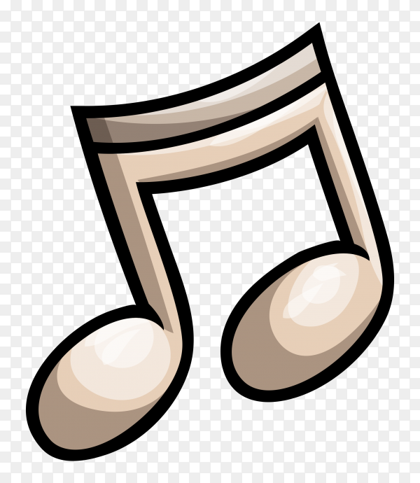 Music note icon on transparent background PNG