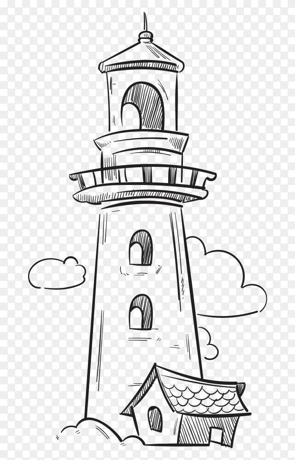 Navigation lighthouse on transparent background PNG