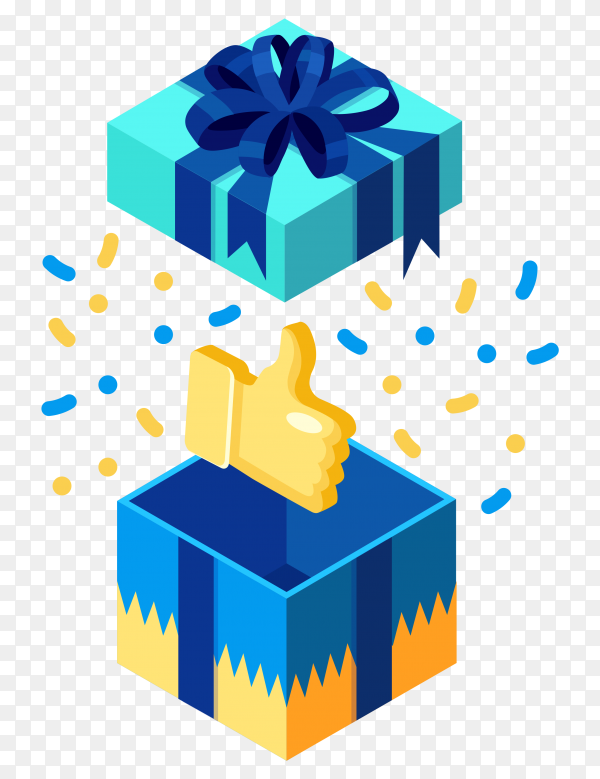 Opened gift box with thumbs up isolated on transparent background PNG