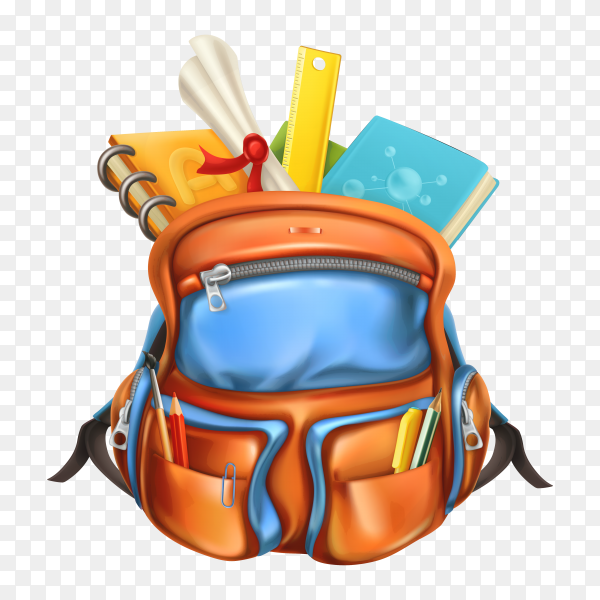 Orange backpack with school tools elements on transparent background PNG
