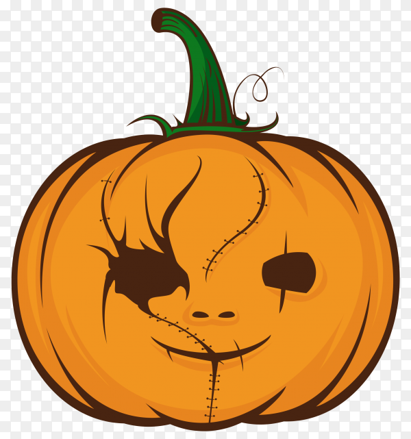 Orrange pumpkins for halloween on transparent PNG