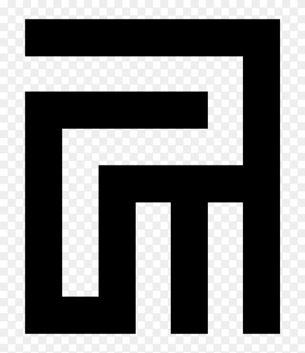 P.M Logo design on transparent background PNG