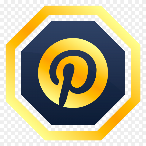 Pinterest logo design on transparent background PNG