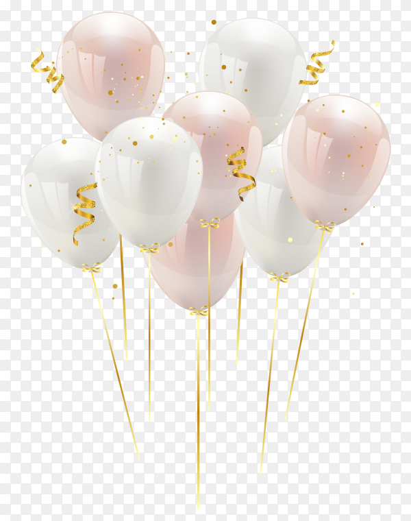 Pink and white balloons bunch collection on transparent background PNG