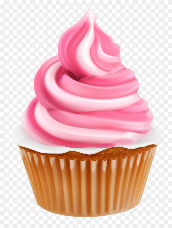 Pink cupcake on transparent background PNG