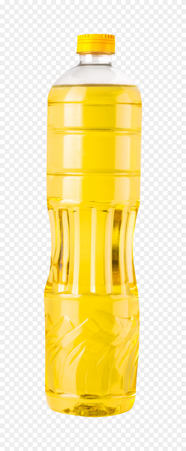 Plastic bottle sunflower oil isolated on transparent background PNG