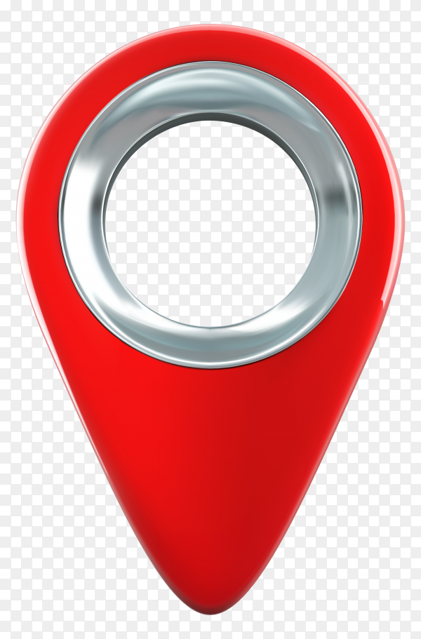 Pointer red pin marker for travel location on transparent background PNG