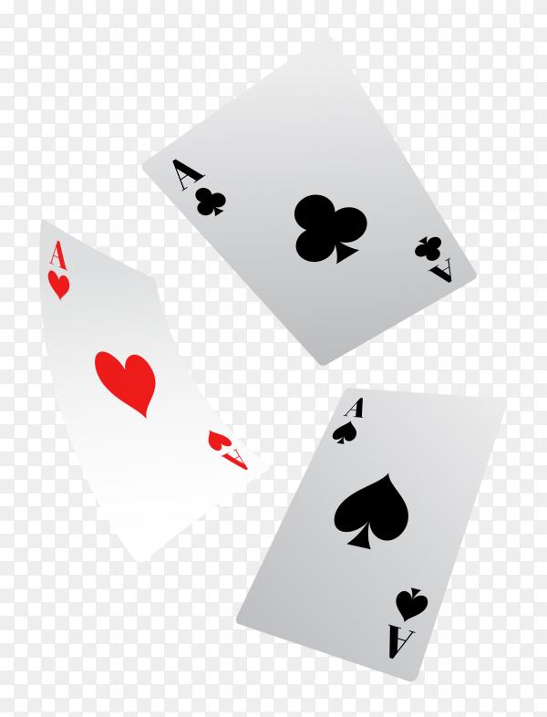Poker game cards on transparent background PNG
