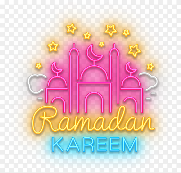 Ramadan kareem with waning moon and islamic art on transparent background PNG