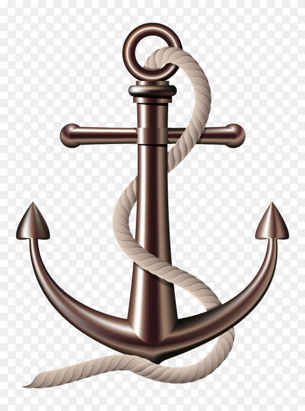 Realistic anchor with rope on transparent background PNG