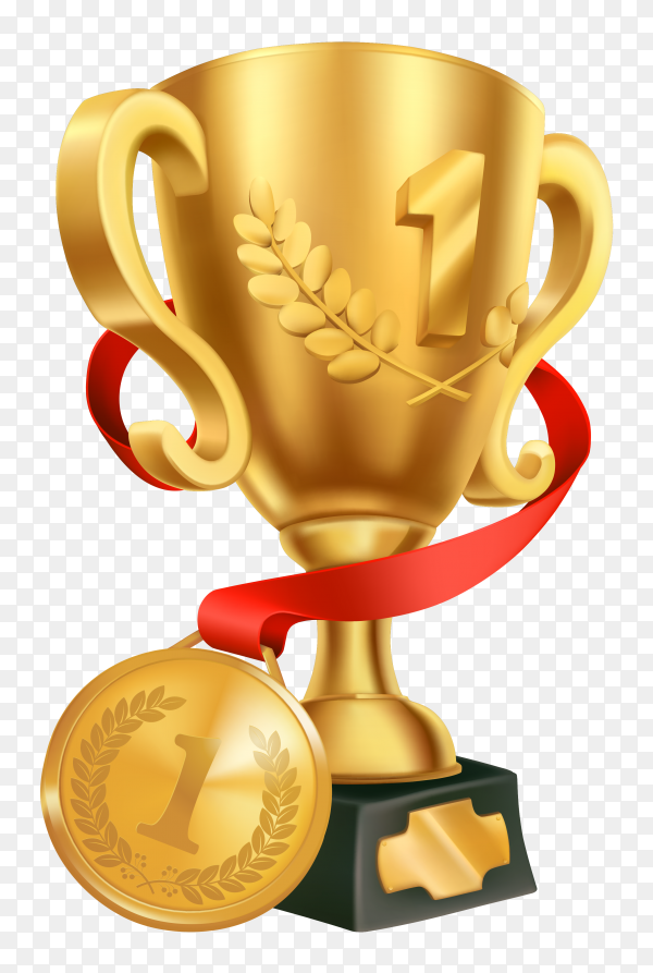 Realistic golden championship trophy with golden medal on transparent background PNG