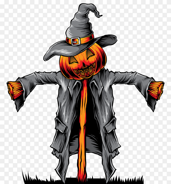 Realistic halloween Pumpkin with scarecrow on transparent background PNG