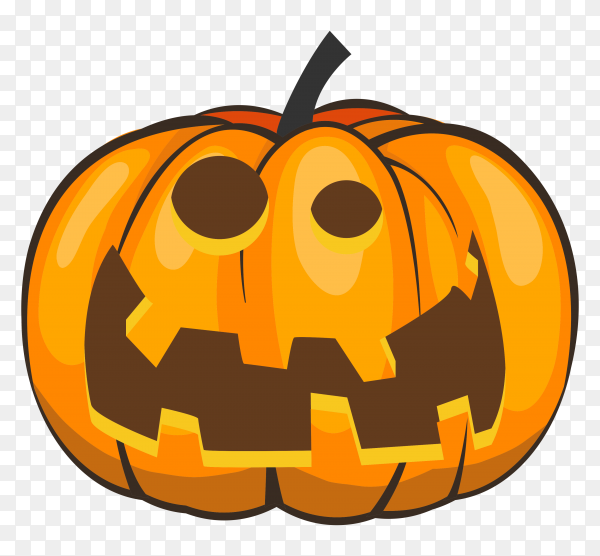 Realistic halloween pumpkin on transparent background PNG