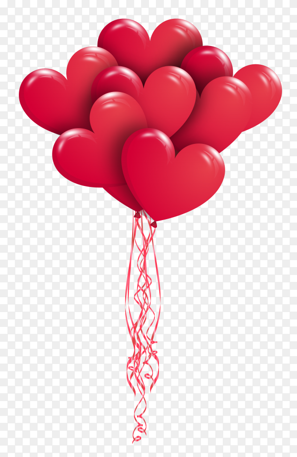 Realistic red heart balloons flying on transparent background PNG