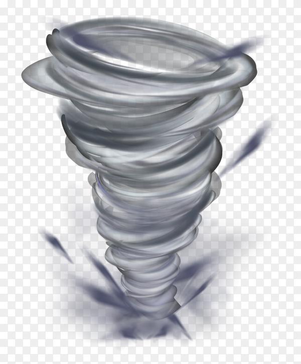 Realistic tornado illustration on transparent background PNG