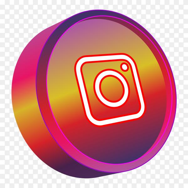 Red 3D instagram logo on transparent background PNG