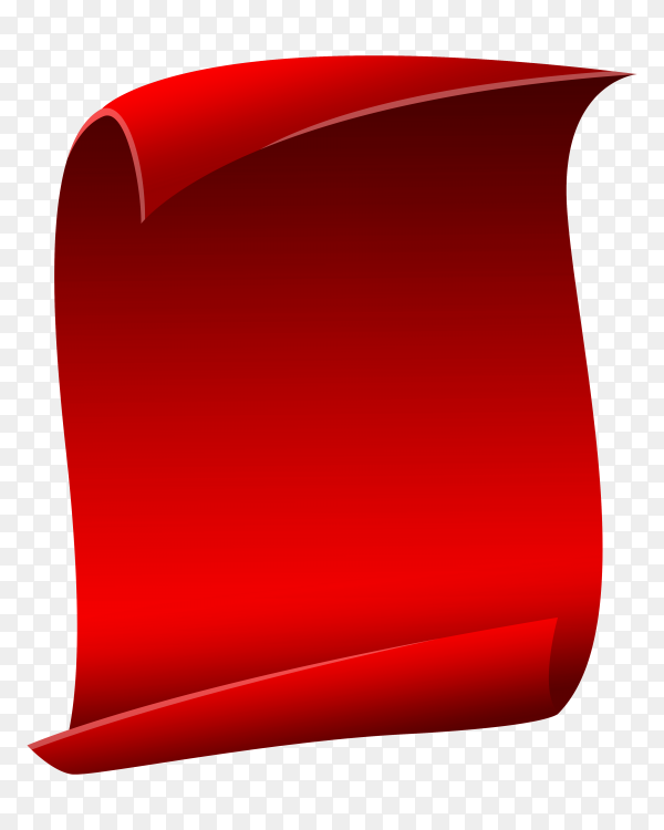 Red Vertical curved banner Isolated on transparent background PNG