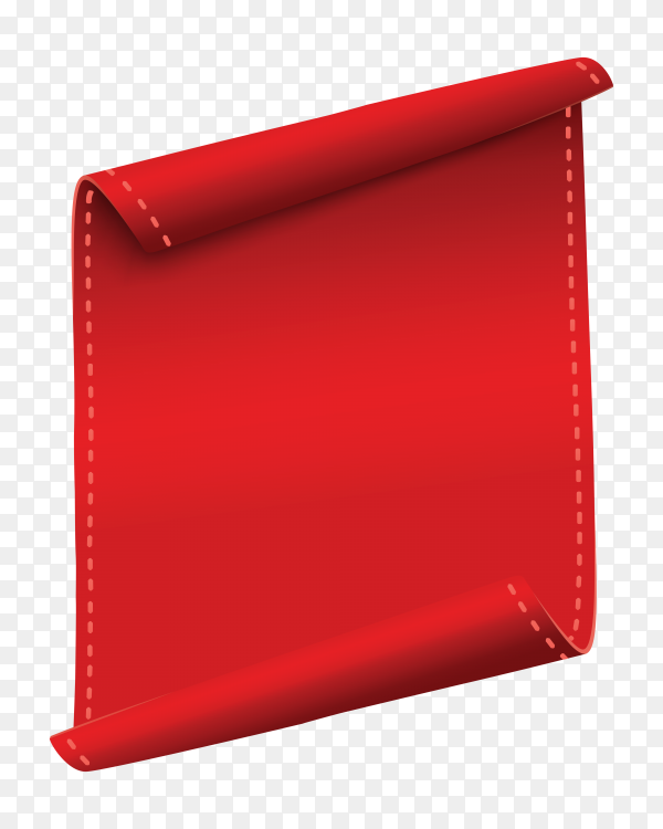 Red Vertical curved banner on transparent background PNG
