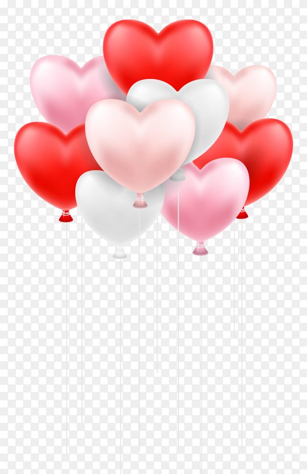 Red and pink heart shaped balloons floating in the sky on transparent background PNG