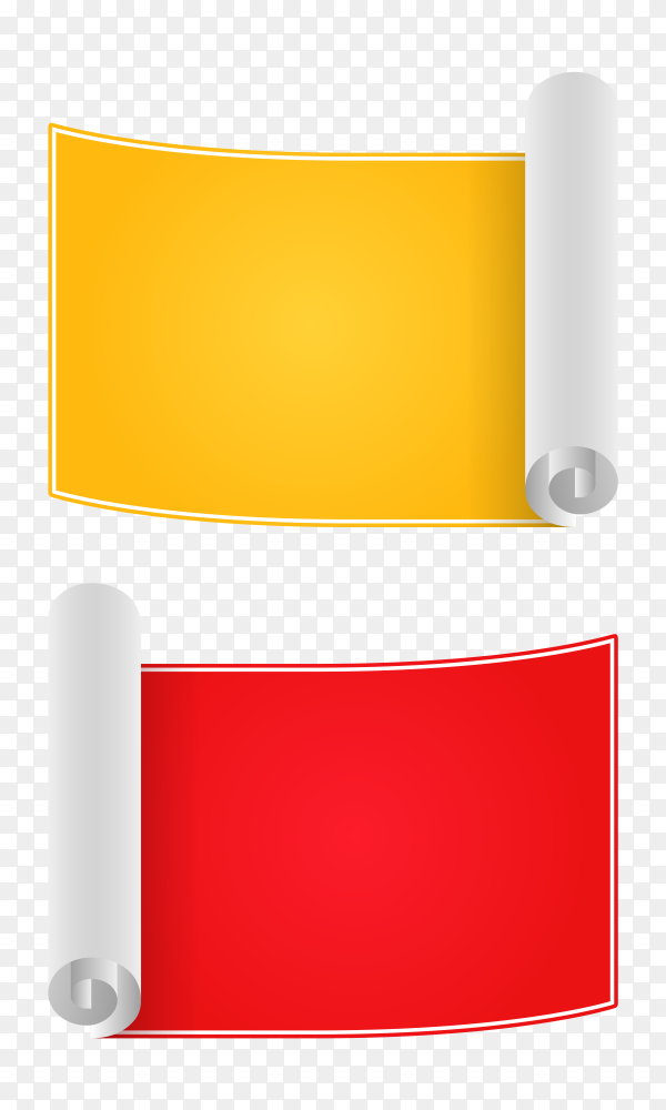 Red and yellow banners design on transparent background PNG