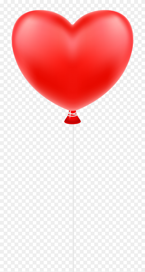Red balloon heart isolated on transparent background PNG