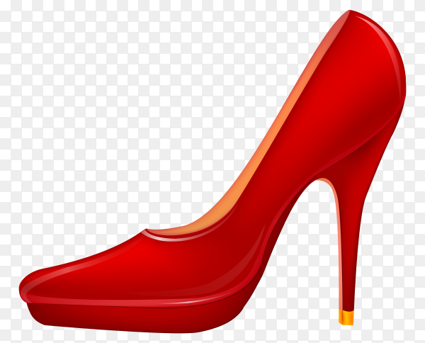 Red heels shoes on transparent background PNG