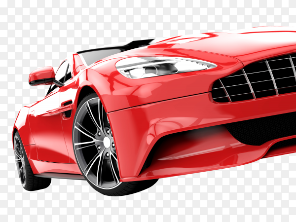 Red luxury car on transparent background PNG