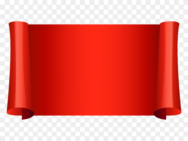 Red ribbon and banner design on transparent background PNG