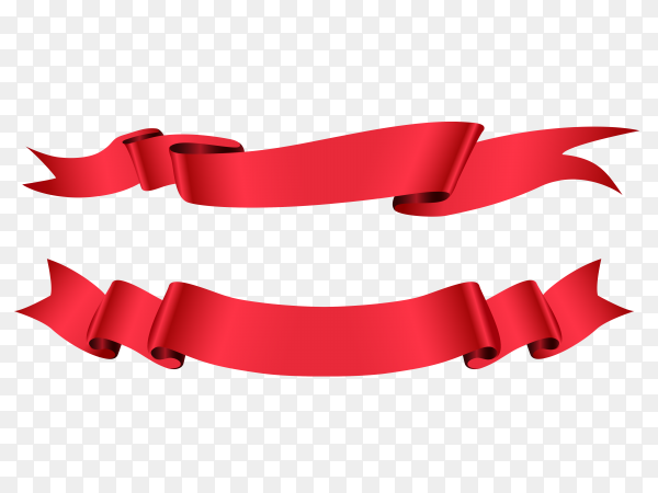 Red ribbon flat banners on transparent background PNG