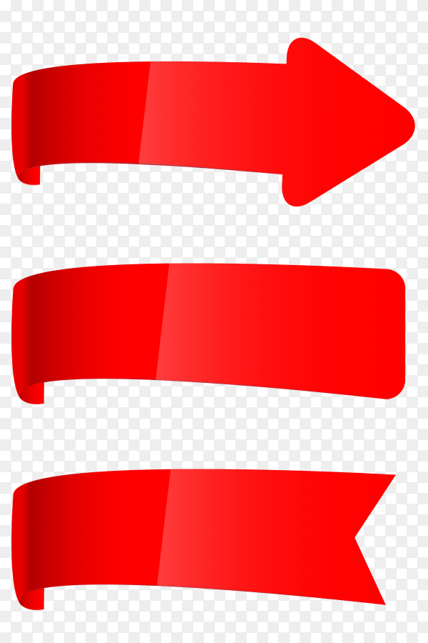 Red ribbons and banners illustration on transparent background PNG