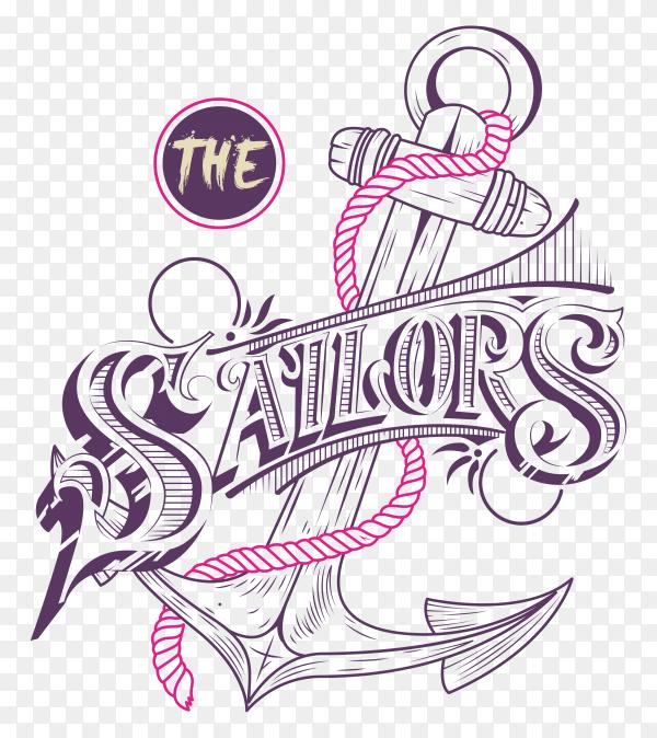 Sailor anchor illustration on transparent background PNG