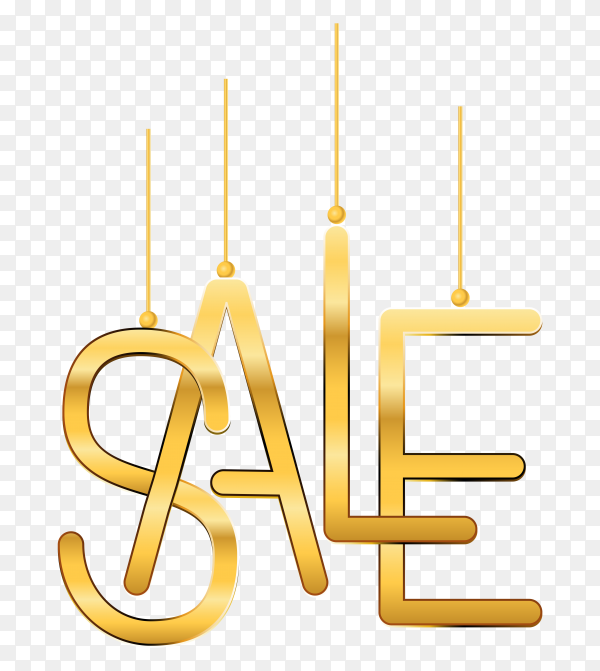 Sale advertisement banner with gold text on transparent background PNG