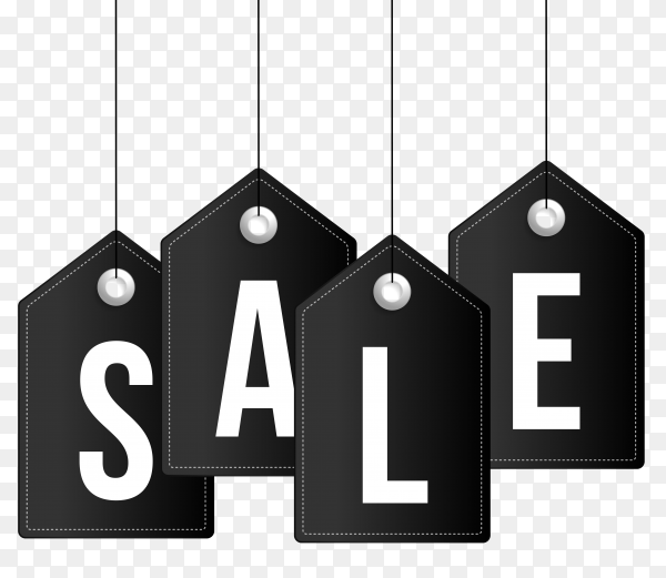 Sale banner style on transparent background PNG