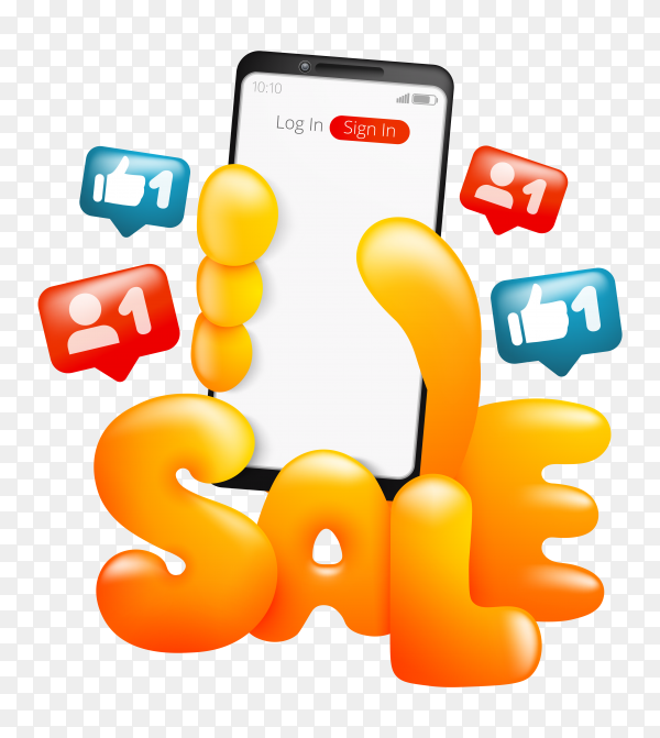 Sale card template with cartoon yellow hand holding smartphone on transparent background PNG