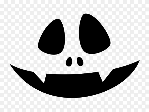 Scary face of halloween pumpkin or ghost on transparent background PNG