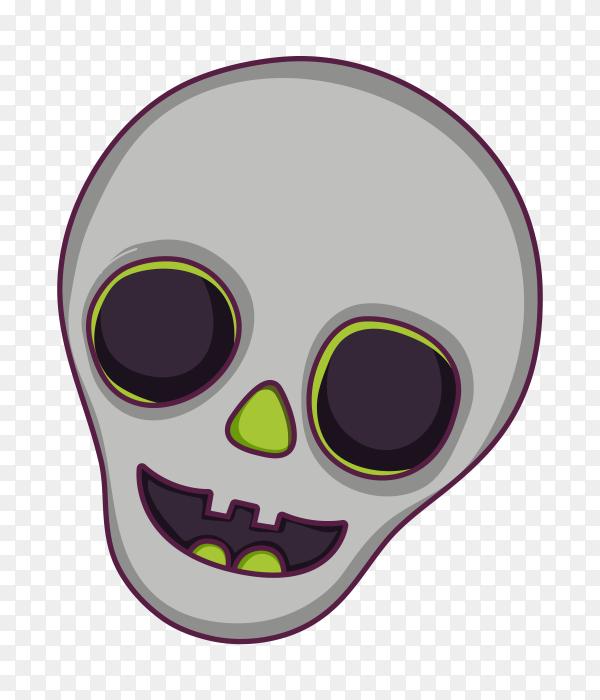 Skull cartoon on transparent background PNG