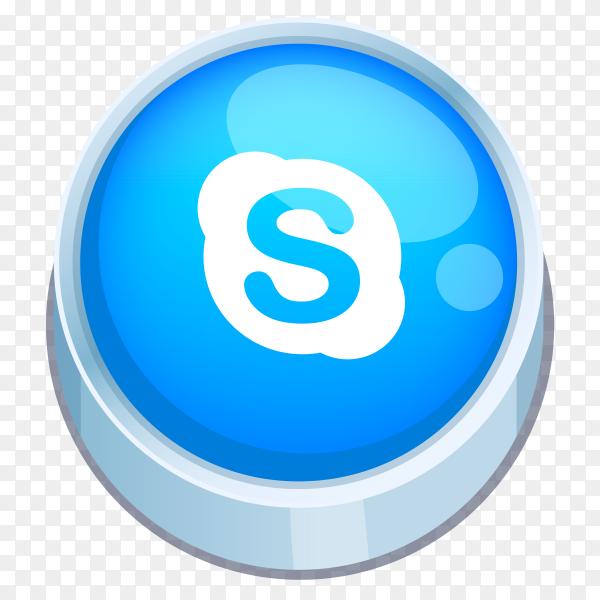 Skype logo 3D button on transparent Background PNG