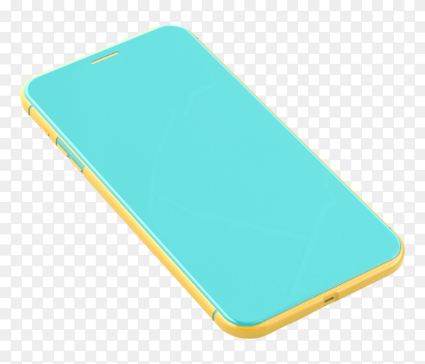 Smartphone cover with yellow and blue color on transparent background PNG