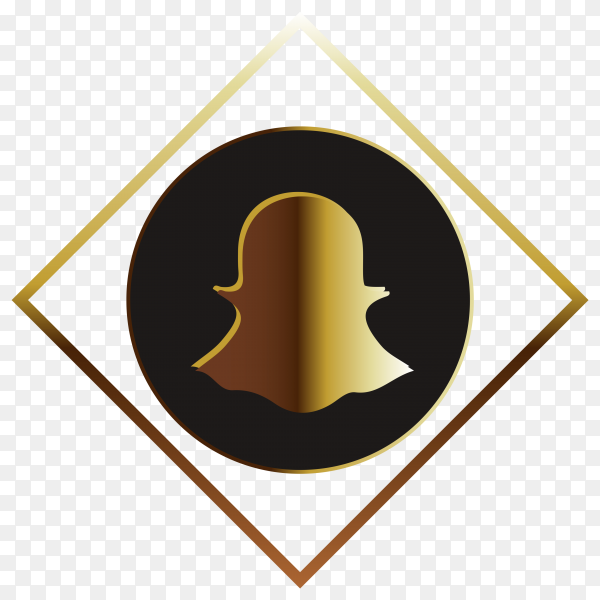 Snapchat golden logo on transparent background PNG