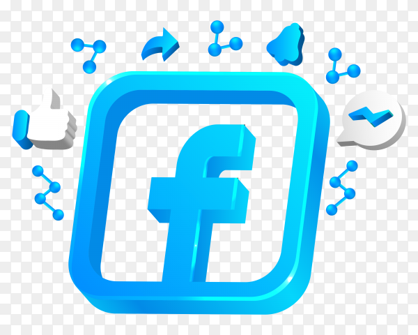 Social media icon and facebook logo on transparent background PNG