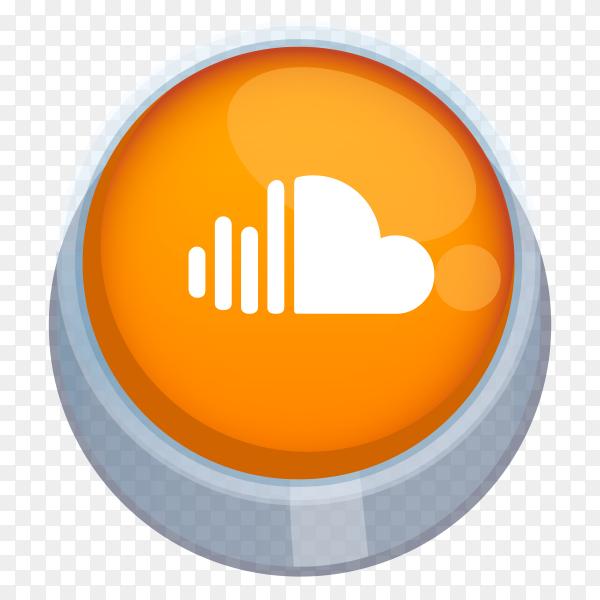 Soundcloud logo 3D button on transparent background PNG