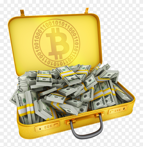 Suitcase bitcoin dollars on transparent background PNG