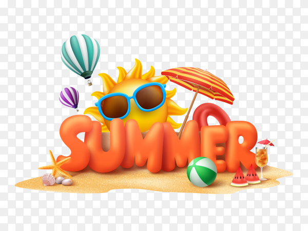 Summer banner with sunglasses and sun on transparent background PNG