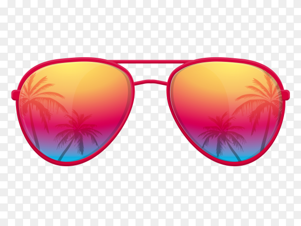Sunglasses with palm trees reflection on transparent background PNG