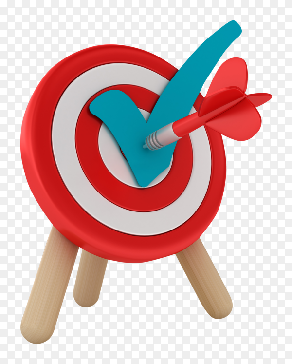 Target darts with check mark on transparent background PNG