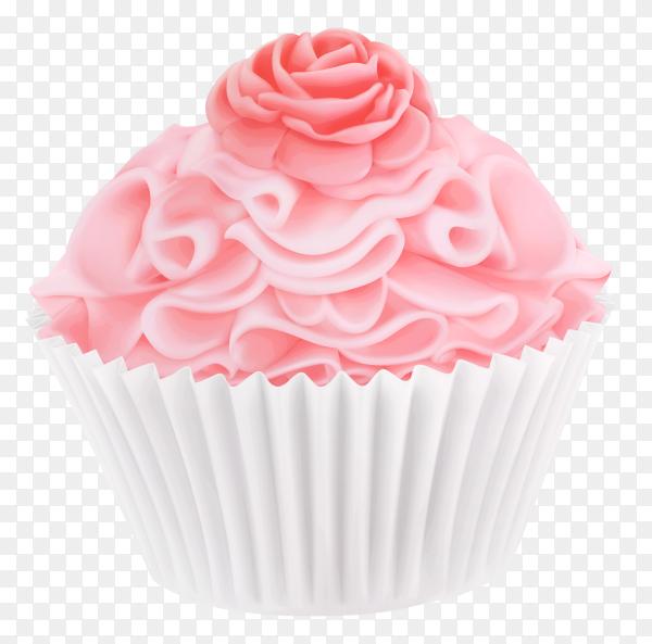 Tasty Pink cupcake on transparent background PNG