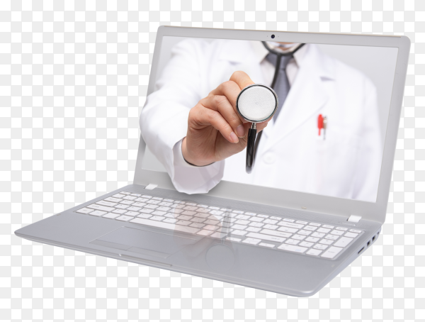 Telemedicine concept doctor with stethoscope computer laptop screen on transparent background PNG