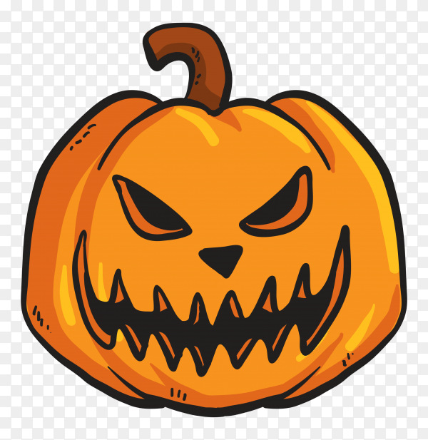 Terrifing pumpkin face on transparent PNG