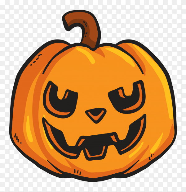 Terrifing pumpkin face on transparent background PNG